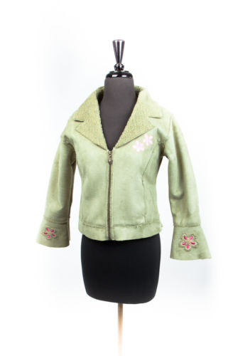 Girl's Young Tess by Pacific Connection Jacket Size XL Soft Green & Pink Flowers