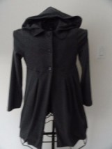 IZ Amy Byer Gray Dress Coat With Hood Black Buttons Flounced Skirt 1/2 Lined XL