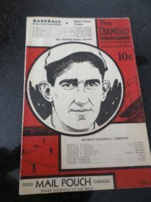 1934 THE DIAMOND Detroit Ball Park Score Card Detroit Tigers v Philadelphia Mint