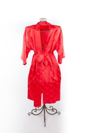 Vintage 70's Saks Fifth Avenue Bright Red Floral Imprint Silk Robe With Belt