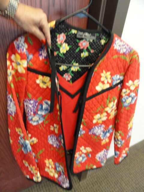 Women's Sty William By Kay Unger Jacket & Blouse 1976 Floral Pattern  4 Quilted