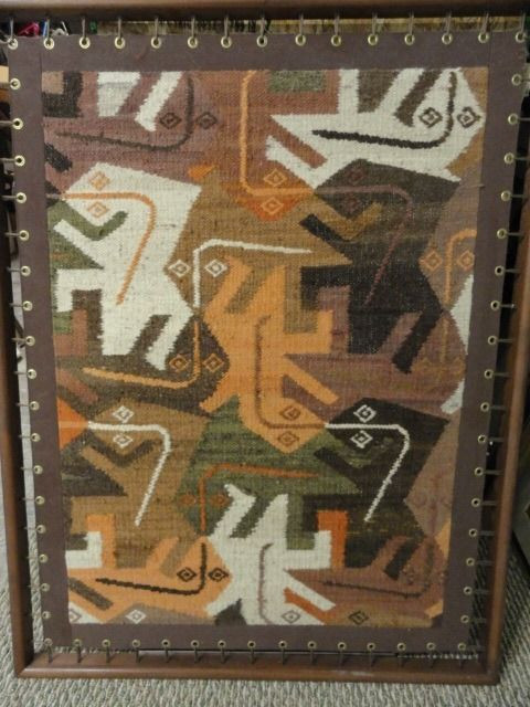 """Vintage 1970's Hand Woven """"Leaping Lizards"""" Wool Intricate Wall Hanging Framed"""