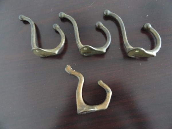 Antique 1928 Four Solid Brass Two Hook Curved  From The Fisher Bldg Detroit Mich