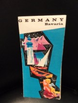 Vintage 1960's Map Of Germany Bavaria Full Color Driving Map Folded In Ex Cond