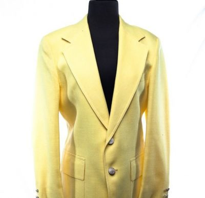 Men's Saks Fifth Avenue Yellow  Sports Coat Jacket 100% Linen 40 S NWOT USA