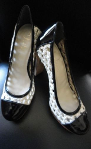 "Women's Cole Haan Shoe 5B Black Patent Leather Straw  Wood 4"" Heel  New"