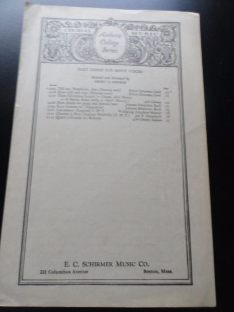 Amherst College 1927 Choral Music Series E C Schirmer Music Co Henry G. Mishkin