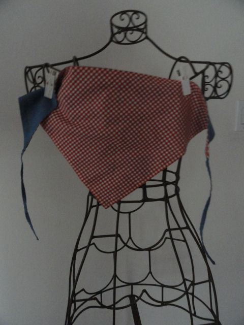 Vintage 1960's Triangle Scarf Kerchief Reversible Blue Gingham Red White 21x11