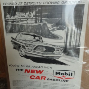 Vintage 1960 Mobil The New Car Gasoline Ad Pegasus Proved At Detroit