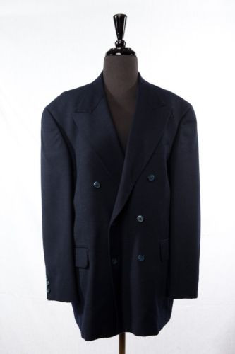 Men's BACHRACH 100%  Wool Navy Dbl Breast  Blazer Sports Coat  42S Columbia NWOT