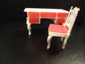 Vtg 1960's Doll House  Furniture Vanity & Chair Plastic 5 Drawers Pull Out