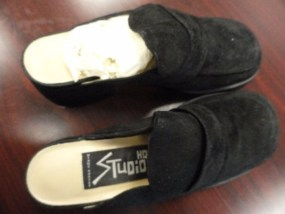 Vtg HD2 Studio Diane Harvey Black Suede Platform Slip On Shoes Size 6 M Loafer