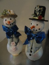 Vintage Christmas Handmade Mr. & Mrs. Snowman Decorations One Of A Kind