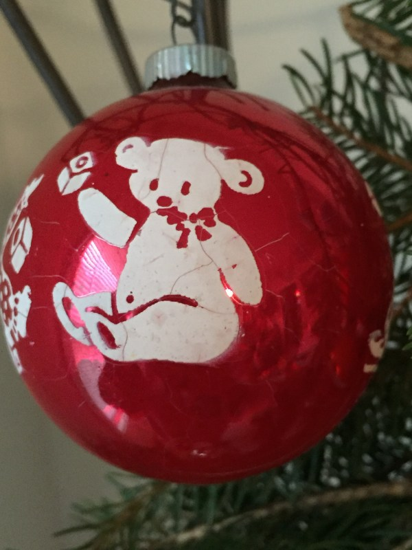 Vintage Christmas Red Frosted Ornament Teddy Bear Sail Boat Clown Blocks