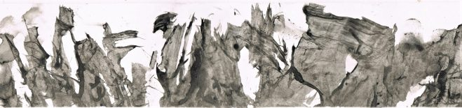 dreamscape #6, ink on glossy paper