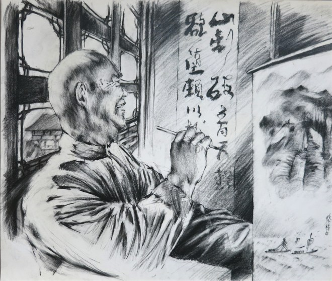 chinese painter in his studio