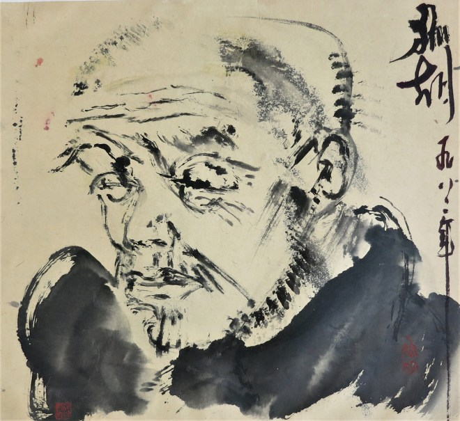 portrait of a monk ink on paper