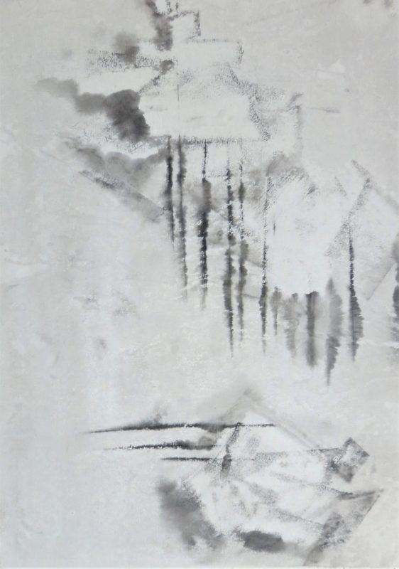 cubist landscape ink on paper
