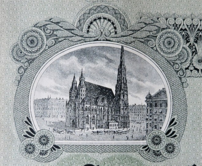 detail of stock certificate with Stephansdom