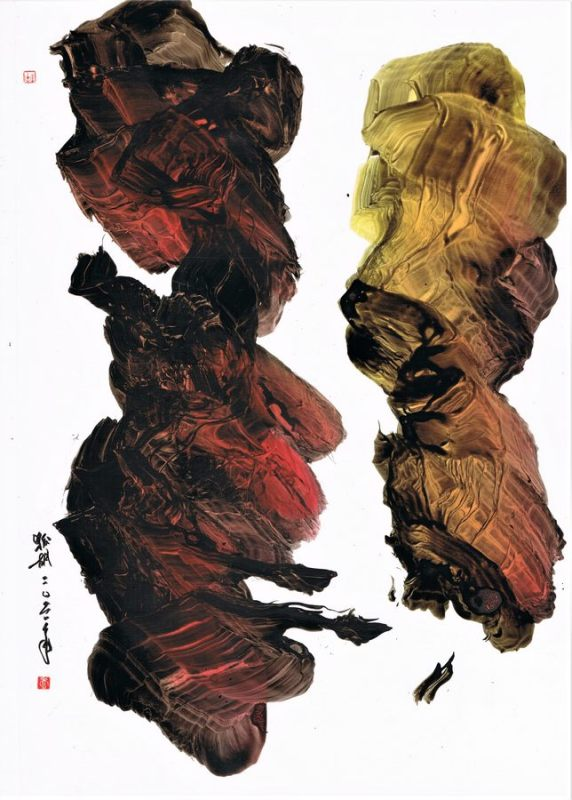 gestural calligraphy on glossy paper
