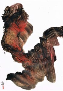 gestural calligraphy with orange and black ink