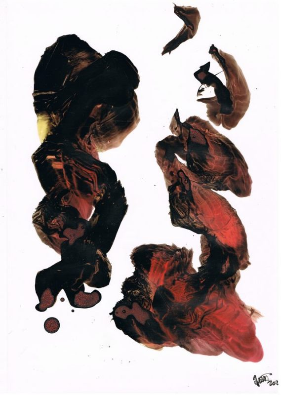 graphic with gestural calligraphy black and red