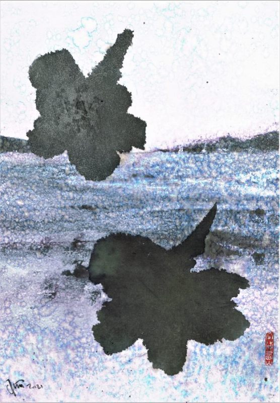 graphic with abstraction of leaves and sea