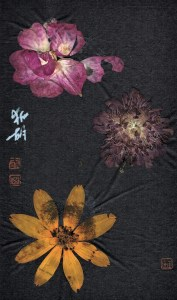 bookmark with blossoms on black ground