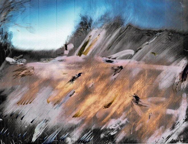 surreal painting burning snow