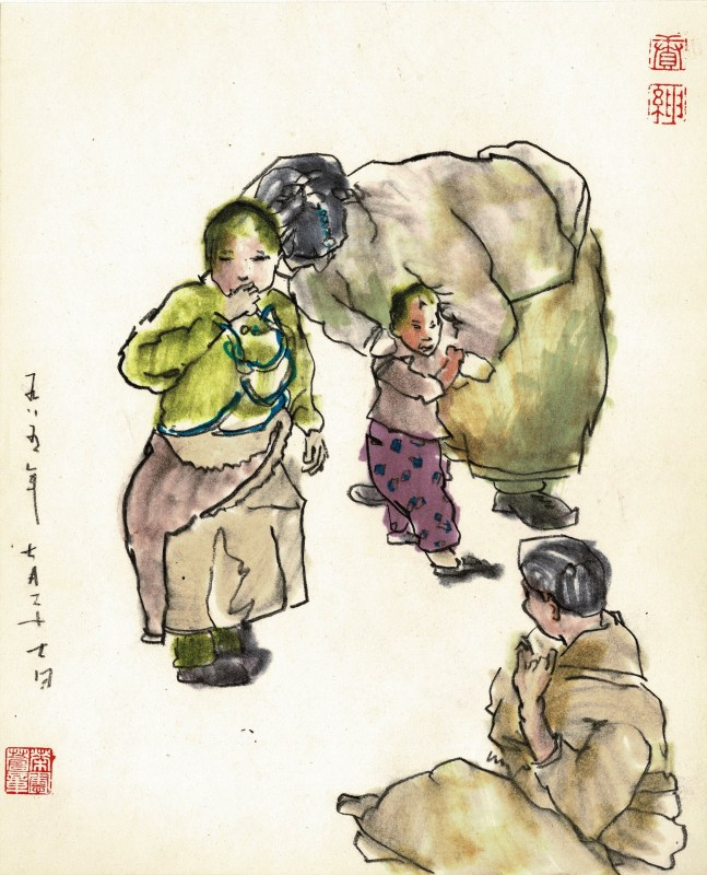 early sketchbook with chinese minorities chinese lady and 3 kids
