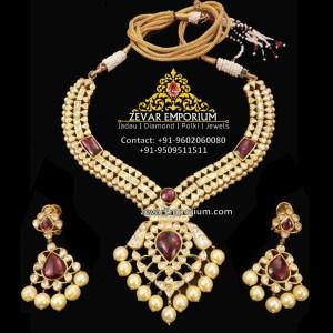 polki tourmaline ruby necklace