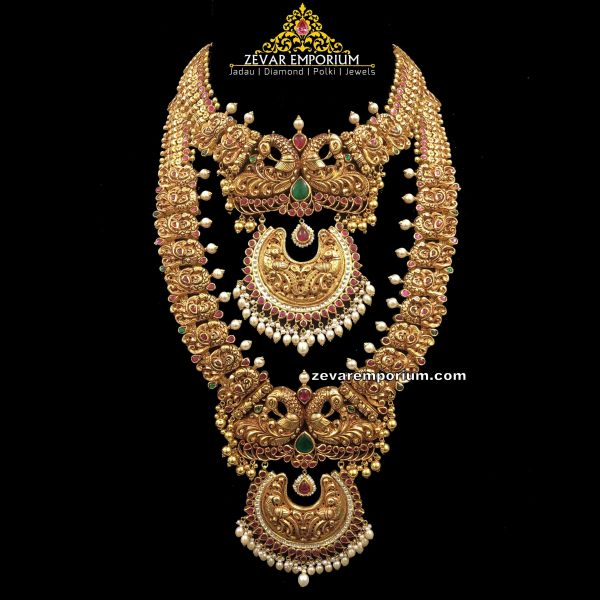 Traditional Nakshi Peacock Mala Necklace