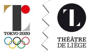O logotipo dos Jogos Olímpicos de Tóquio 2020 (esq.) e o símbolo do teatro belga Théâtre de Liège. Você percebe a semelhança entre eles?