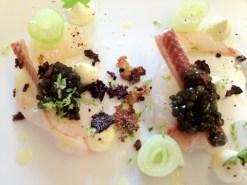 Langoustines du Guilvinec marinées : anguille fumée/concombre/crème double