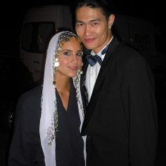 "Me (as a belly dancer) and Eddie on set for ""Geld macht Liebe""."
