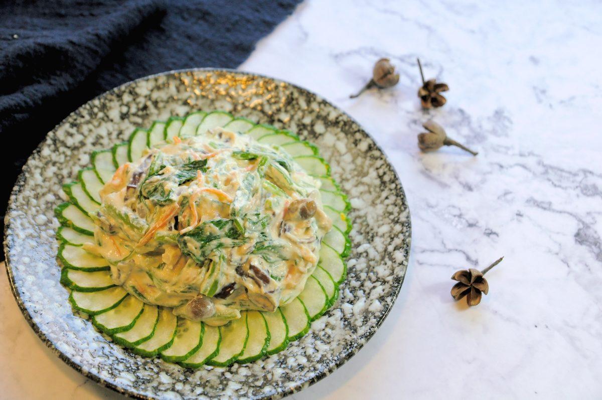 家常的豆腐泥拌菠菜(ほうれん草の白和え)