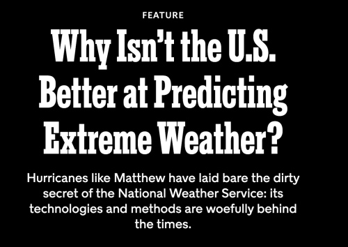 US Operational Weather Prediction Is Crippled By Inadequate Computer Resources