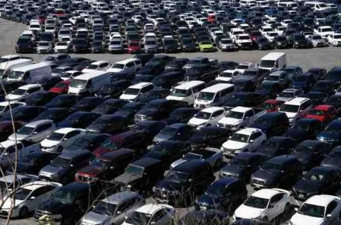 Hundreds of rental cars are being temporarily parked at Dodger Stadium as travel continues to constrict amid the coronavirus pandemic.