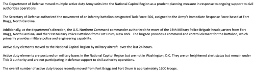 """Pentagon Says 1,600 Army Troops Have Moved To Joint Base Andrews Outside Washington DC To """"Support Civil Authorities"""""""
