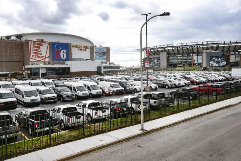 About 2,200 Enterprise rental cars are parked at the Wells Fargo Center in South Philadelphia