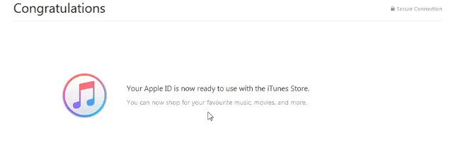 congratulation your apple id is now ready 成功
