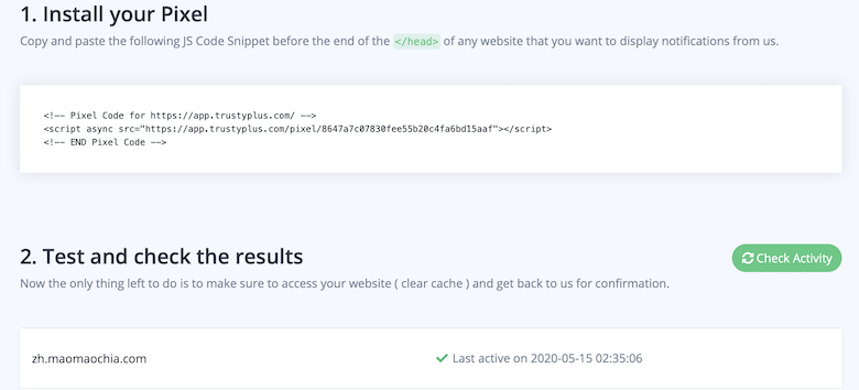Pixel code to your website Check Activity