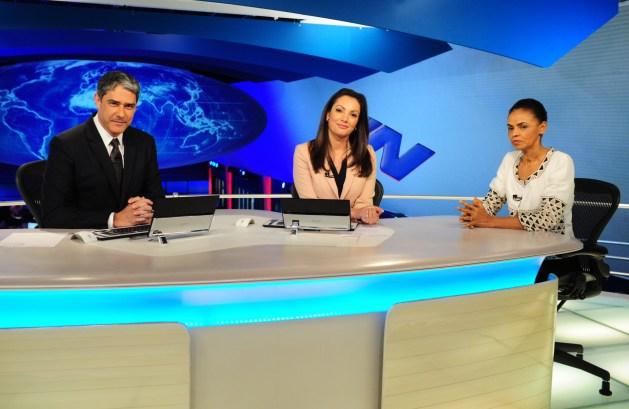 Marina Silva é entrevistada pelo Jornal Nacional João Cotta / Divulgação / Rede Globo/