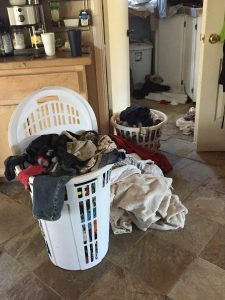 laundry piled high