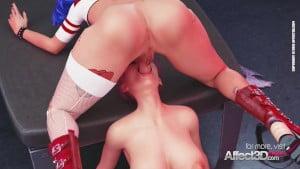 Futanari Harley fucks her new cellmate in a 3D animation