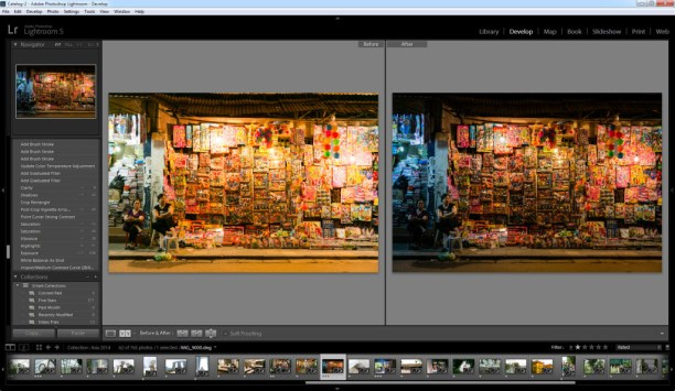 Example of post processing using exposure, temperature and vibrance adjustments