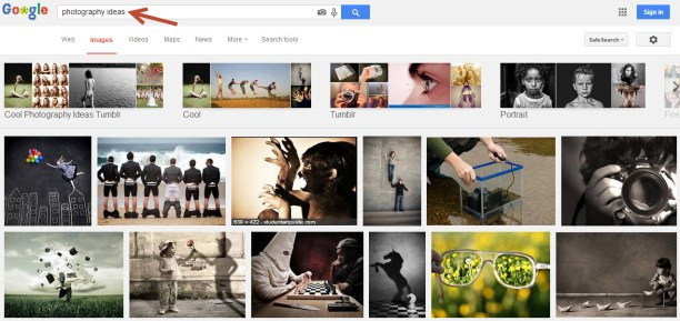 """Typing """"photography ideas"""" into google images gives you nicely categorised ideas for your next photography project!"""