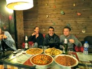The hostel provided us with an all-you-could-eat dinner. Also: the guy in the middle is named Aaron and he teaches just two hours from me!