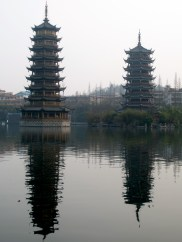 After the cave, I joined some people from my hostel to go see the Sun and Moon Pagodas in Guilin