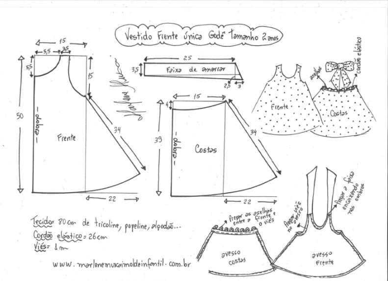 041931f5df1 Готовая выкройка детского платья-сарафана на возраст от 1 года до 14 ...